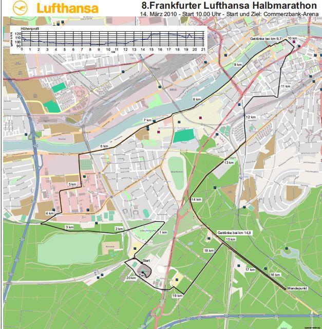Streckenplan Lufthansa Halbmarathon