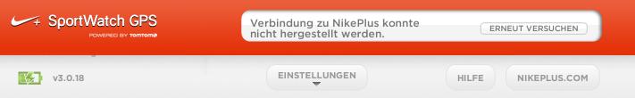Fehlermeldung Nike plus